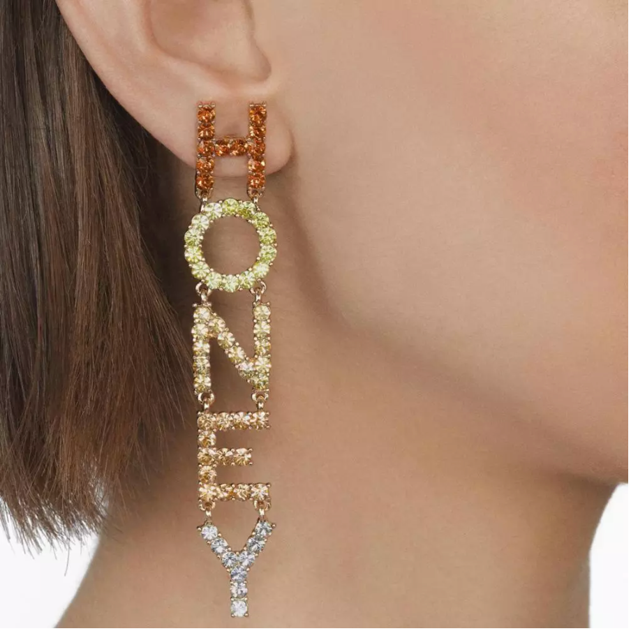 Crystal Multicolor HONEY Letters Long Drop Women's Earrings Party Night Out Fun