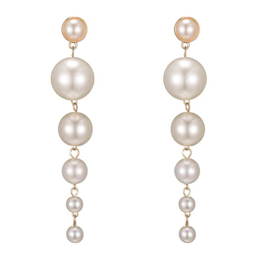 Yellow Gold White Round Pearl Drop Elegant Women's Earrings Fashion Party Chic