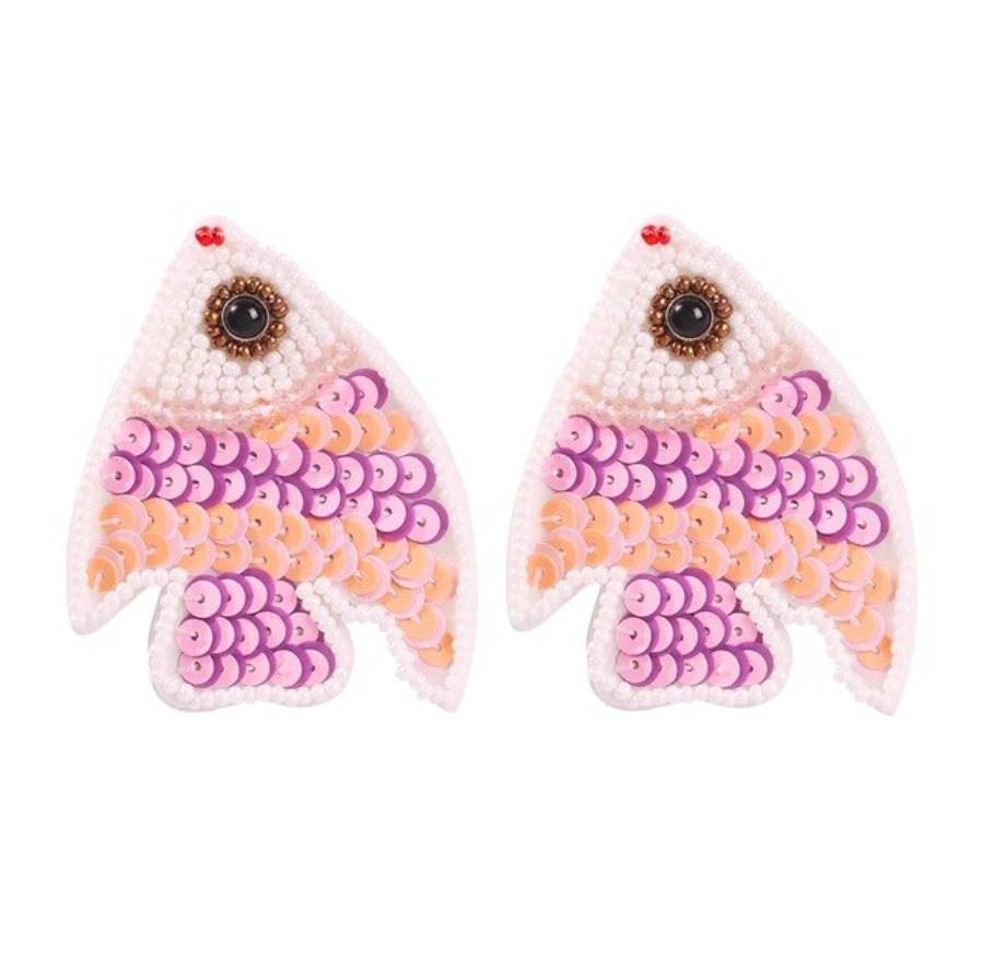 Pink Purple Cute Fish Sequin Large Drop Women's Statement Earrings Sea Vacation
