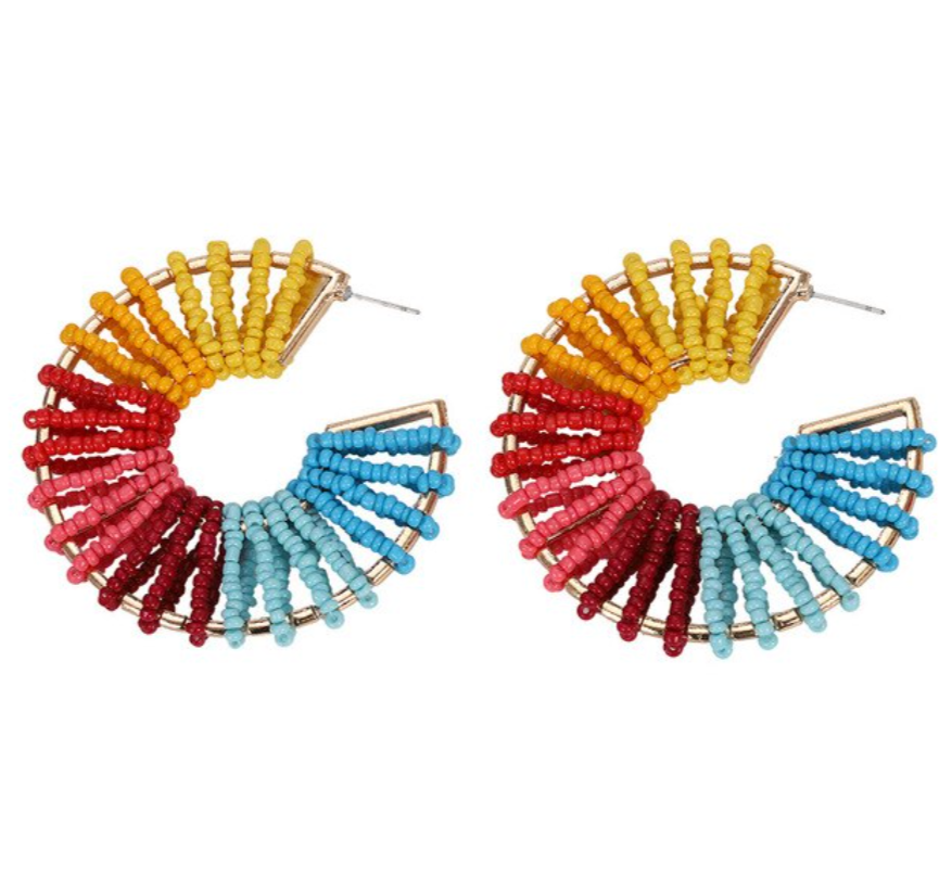 Rainbow Multi-Color Beaded Round Large Hoop Earrings
