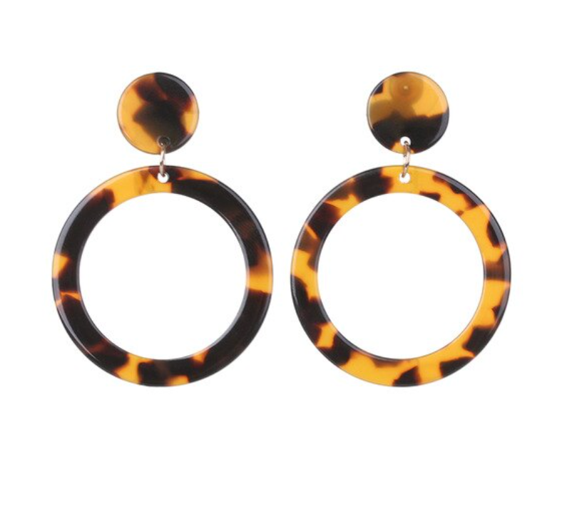 Coffee Brown Black Acrylic Round Retro Drop Women's Earrings Trendy Party Style