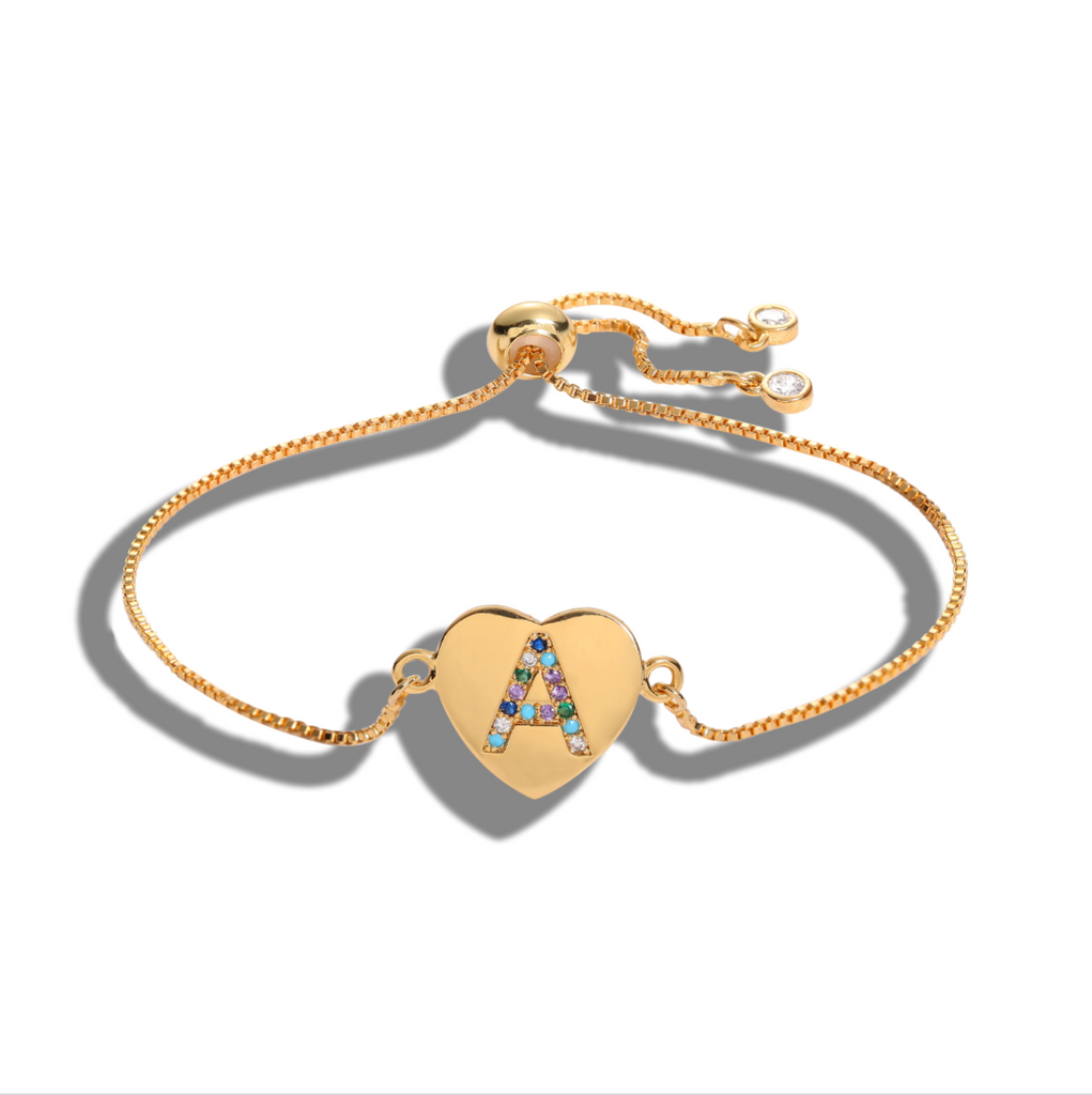 "Gold Multi-color Cubic Zirconia Letter ""A"" Initial Name Heart Bracelet Love"