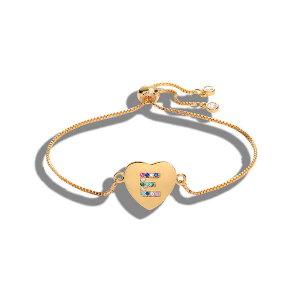 "Heart Shaped Letter ""E"" Multi-Color Cubic Zirconia Yellow Gold Initial Bracelet"