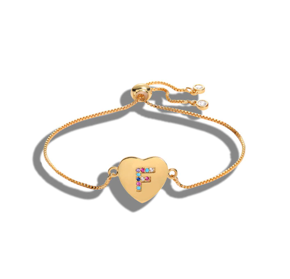 "Heart Shaped Letter ""F"" Multi-Color Cubic Zirconia Yellow Gold Initial Bracelet"