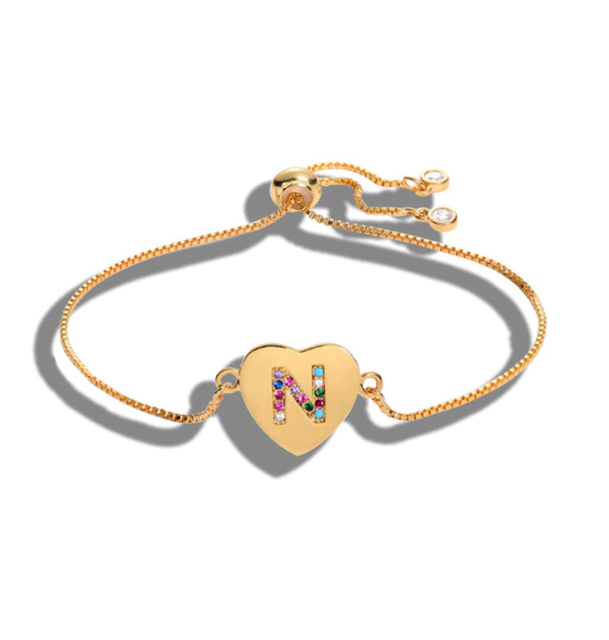 "Heart Shaped Letter ""N"" Multi-Color Cubic Zirconia Yellow Gold Initial Bracelet"