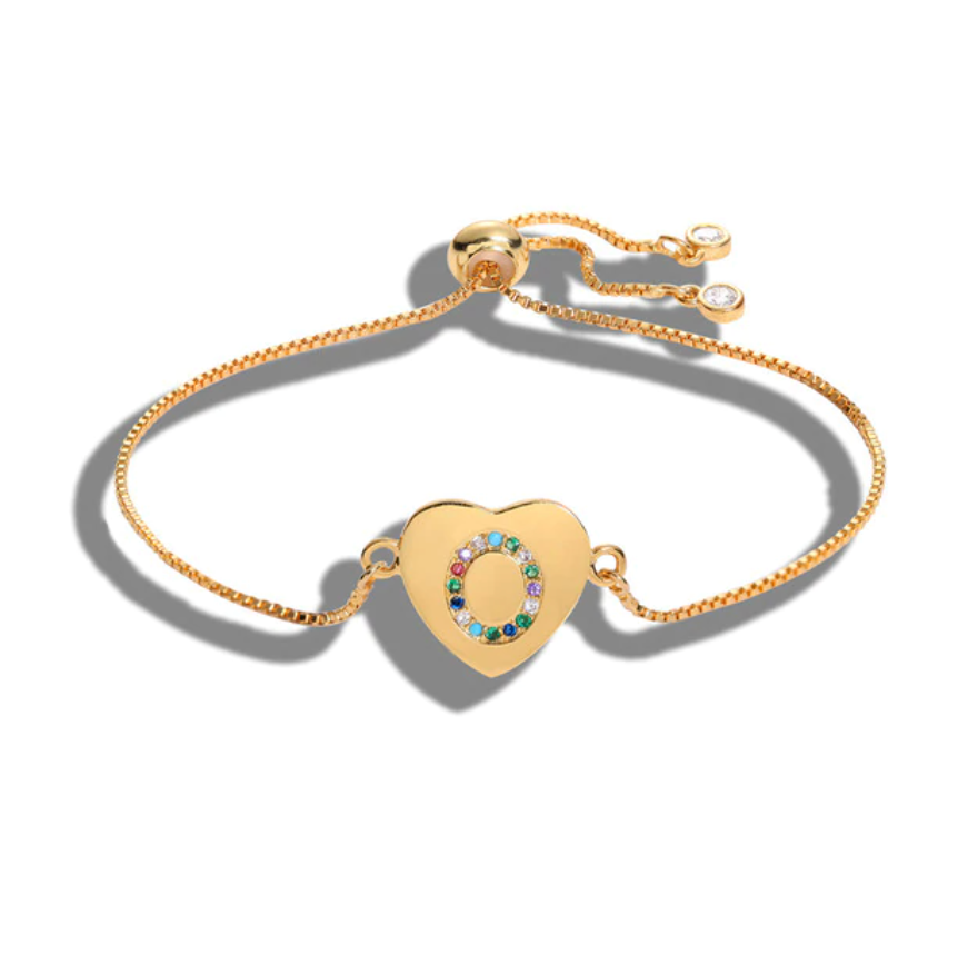 "Heart Shaped Letter ""O"" Multi-Color Cubic Zirconia Yellow Gold Initial Bracelet"