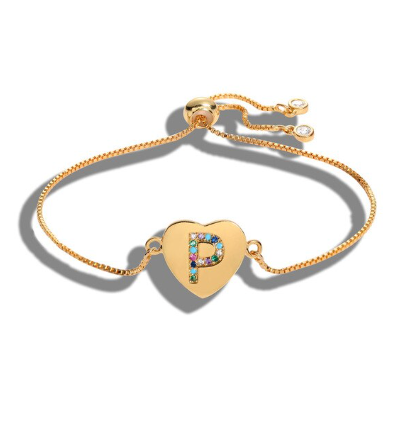 "Heart Shaped Letter ""P"" Multi-Color Cubic Zirconia Yellow Gold Initial Bracelet"
