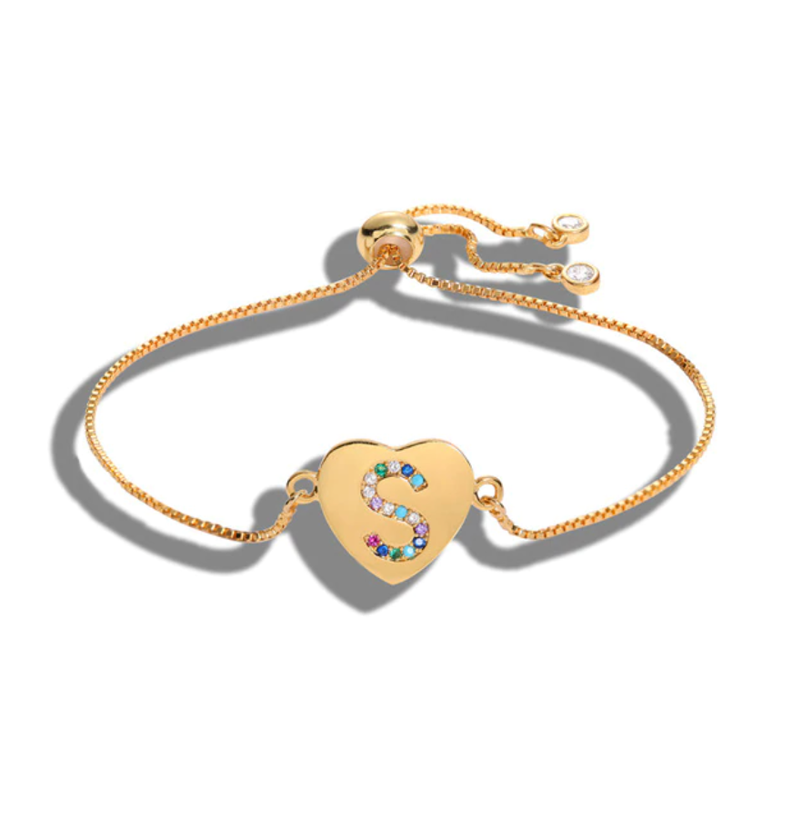 "Heart Shaped Letter ""S"" Multi-Color Cubic Zirconia Yellow Gold Initial Bracelet"