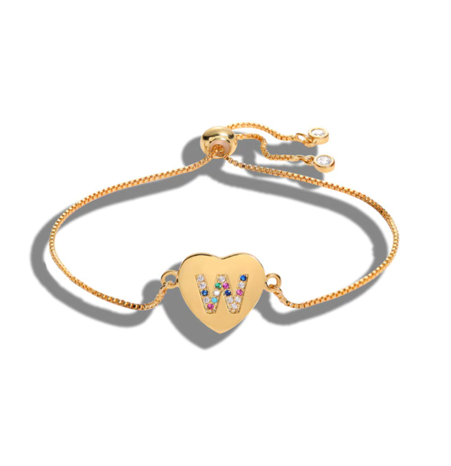 "Heart Shaped Letter ""W"" Multi-Color Cubic Zirconia Yellow Gold Initial Bracelet"