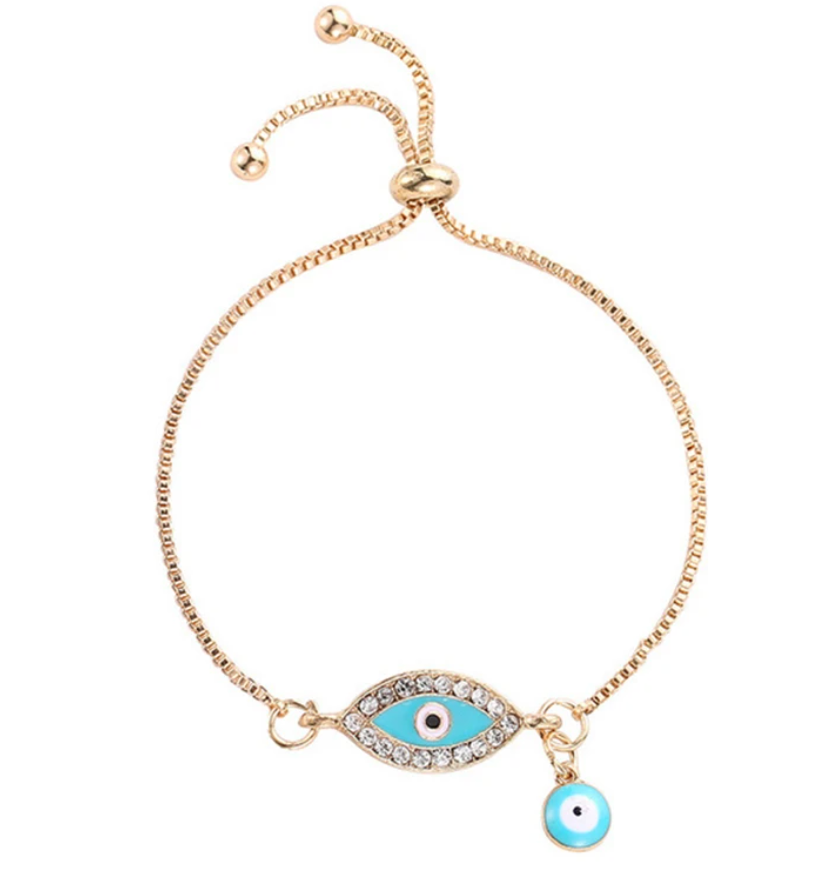 Evil Eye Protection Symbol Turquoise Enamel Adjustable Yellow Gold Bracelet