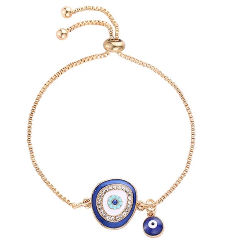 Evil Eye Protection Symbol Blue Enamel Adjustable Yellow Gold Bracelet