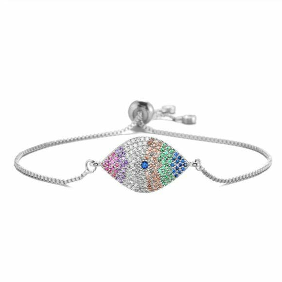 Silver Rainbow Cubic Zirconia Evil Eye Symbol Boho Women's Adjustable Bracelet