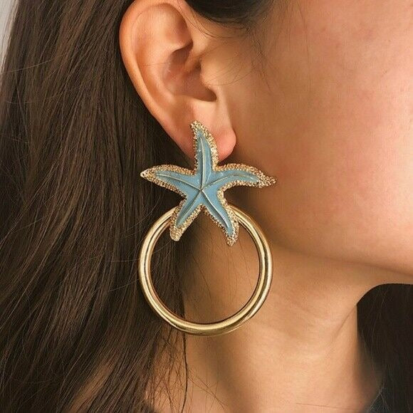 Gold Blue Enamel Starfish Large Hoop Drop Statement Women's Fashion Earrings