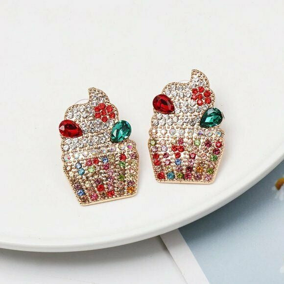 Multi Color Rhinestone Cute Cupcake Drop Women's Fashion Earrings Fun Cartoon