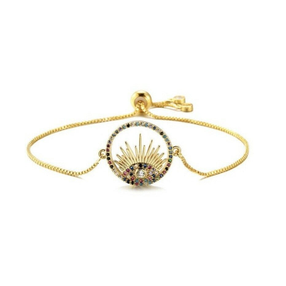 Gold Blue Cubic Zirconia Round Evil Eye Cute Lash Boho Adjustable Bracelet