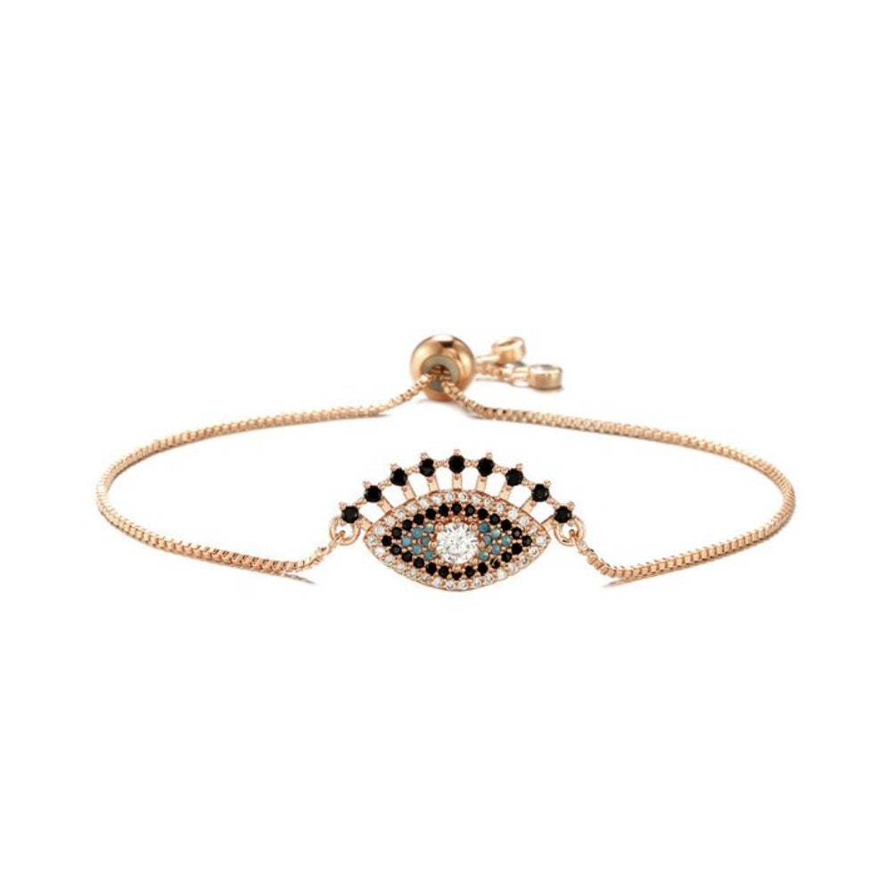 Rose Gold Blue Cubic Zirconia Halo Evil Eye Cute Lash Boho Adjustable Bracelet