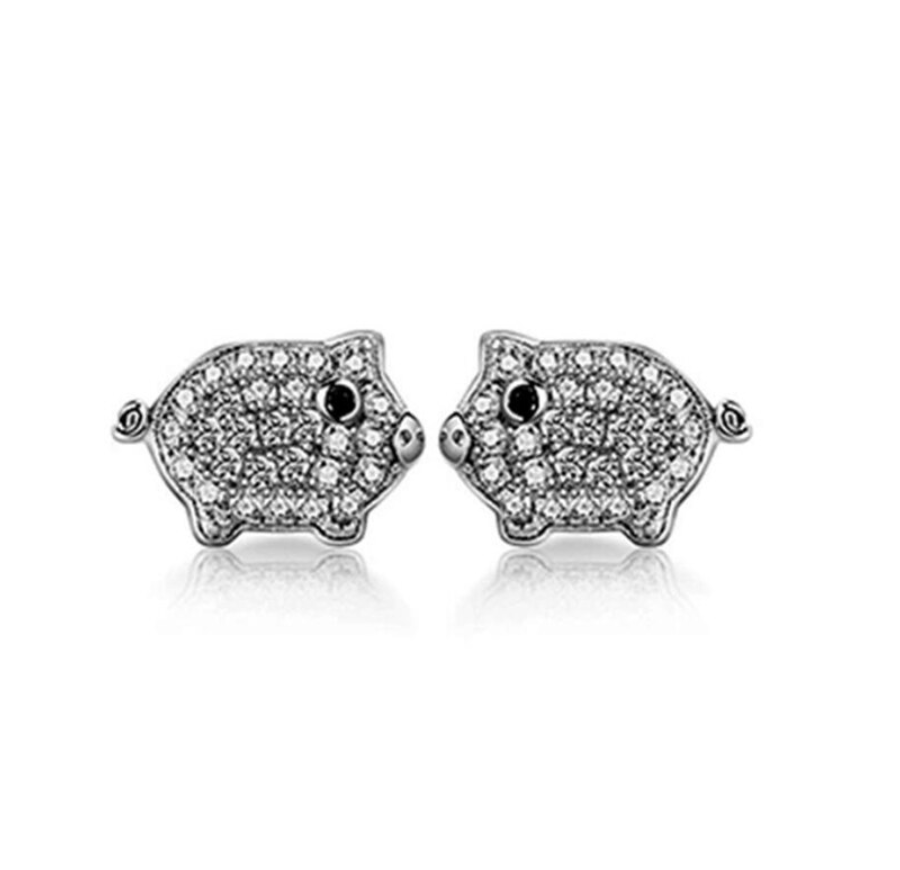 Sterling Silver Pave Cubic Zirconia Cute Pig Piggy Animal Women's Fashion Stud EarringsSterling Silver Pave Cubic Zirconia Cute Baby Pig Stud Earrings
