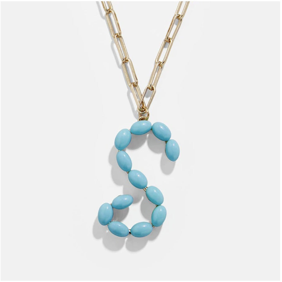 "Blue Bead Paper Clip Chain Initial Letter ""S"" Name Necklace"