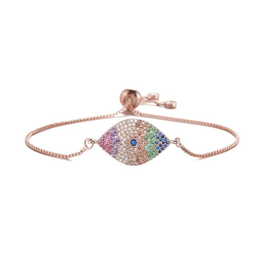 Rose Gold Rainbow Cubic Zirconia Evil Eye Boho Symbol Women Adjustable Bracelet