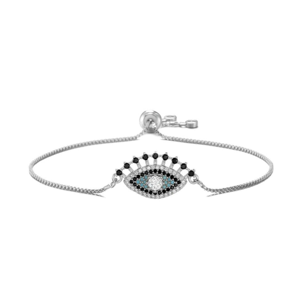 Silver Blue Cubic Zirconia Halo Evil Eye Cute Lash Boho Adjustable Bracelet