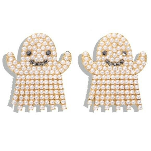 Smiling Ghost Boo Pearl Rhinestone Large Drop Women's Earrings Party Halloween