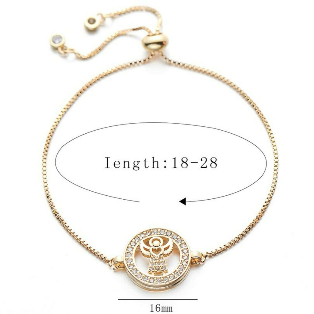 Angelic Heart Angel Round Charm Cubic Zirconia Adjustable Bracelet Religious