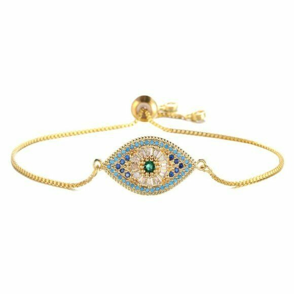 Yellow Gold Evil Eye Symbol Multi Color Cubic Zirconia Adjustable Bracelet