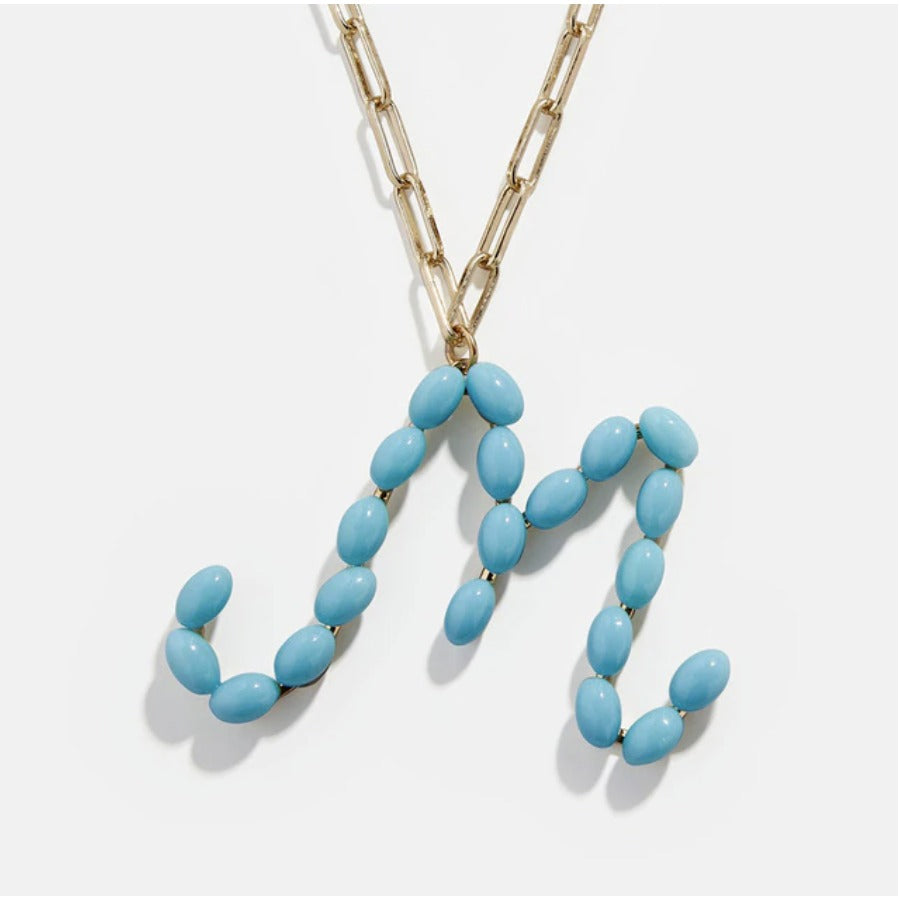 "Blue Bead Paper Clip Chain Initial Letter ""M"" Name Necklace"