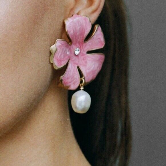 Women's Pink Crystal Flower Pearl Drop Enamel Earrings Nature Vacation Summer