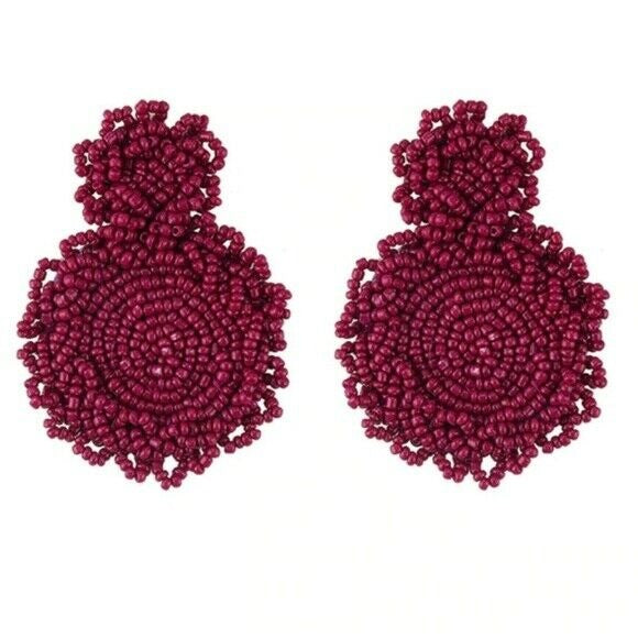 Dark Red Beaded Round Drop Flower Statement Women's Earrings Fashion