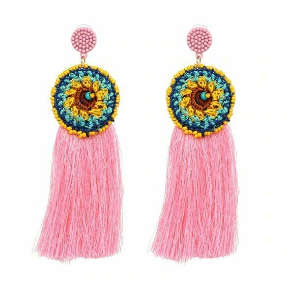 Yellow Pink Knitted Flower Round Long Tassel Boho Gypsy Women's Fashion Earrings