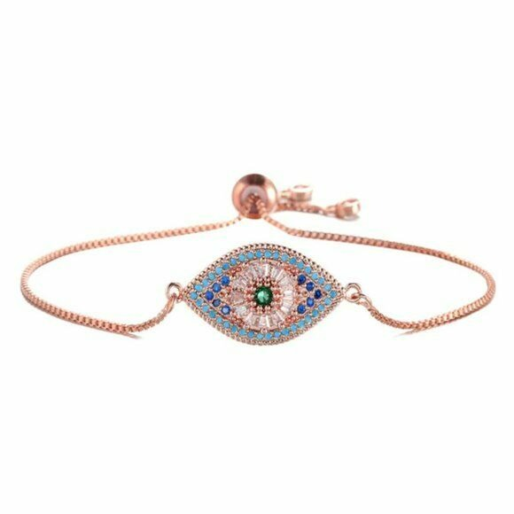 Rose Gold Evil Eye Multi Color Pave Cubic Zirconia Women's Adjustable Bracelet