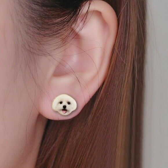 Happy Poodle Puppy Dog Cute Animal Lover Women's Stud Earrings