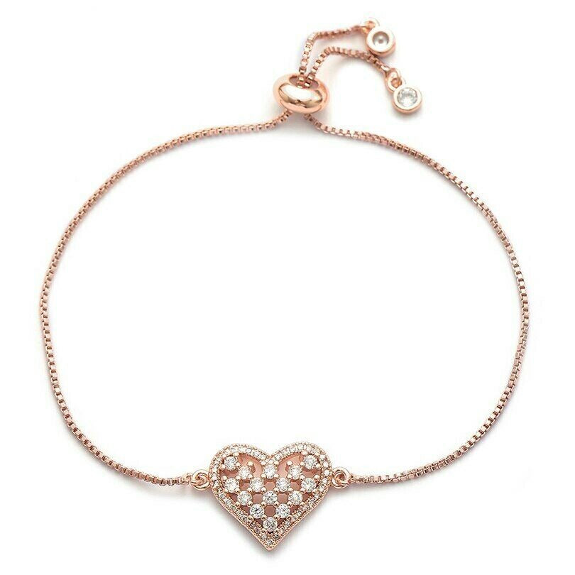 Rose Gold Round Cubic Zirconia Darling Heart Cham Adjustable Bracelet
