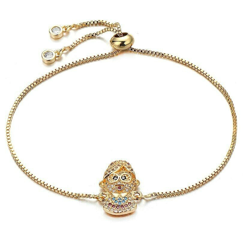 Cute Grandma Nana Family Charm Yellow Gold Cubic Zirconia Adjustable Bracelet
