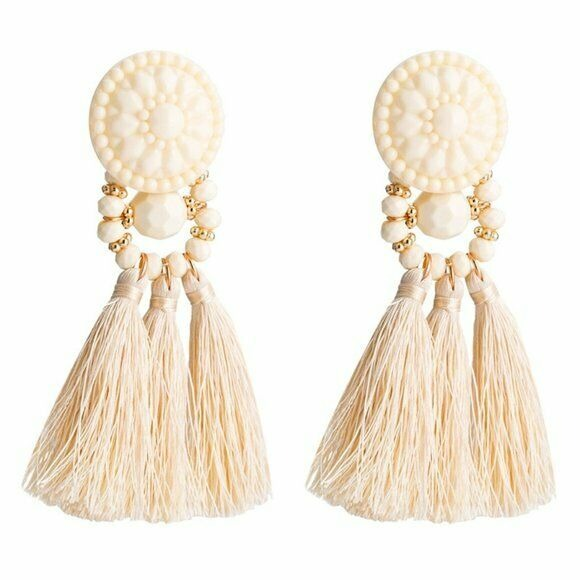 Large Round Floral Boho Gypsy Ivory Tassel Long Women's Fashion Earrings Party