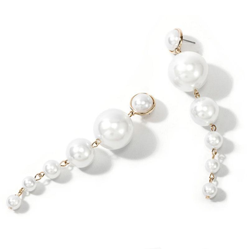 YELLOW GOLD WHITE ROUND PEARL DROP ELEGANT WOMEN'S EARRINGS
