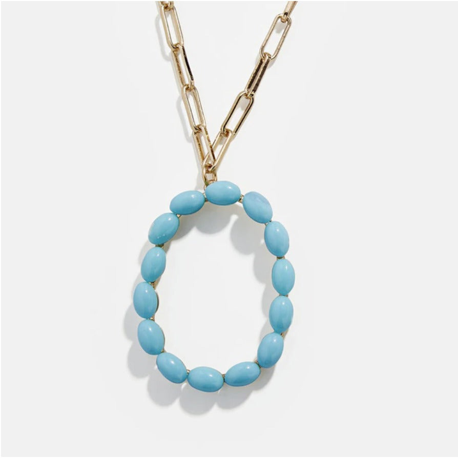 "Blue Bead Paper Clip Chain Initial Letter ""O"" Name Necklace"