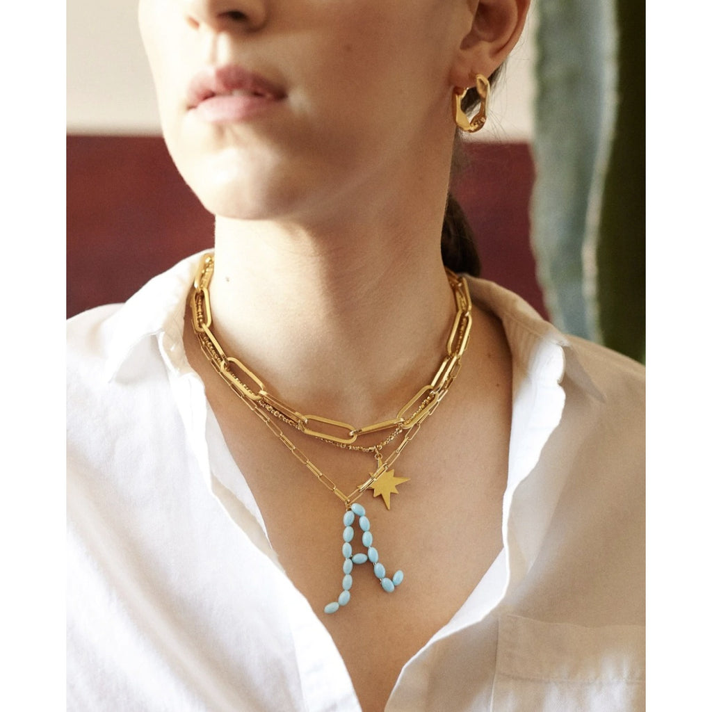 "Blue Beaded Letter ""O"" Gold Paperclip Name Necklace"