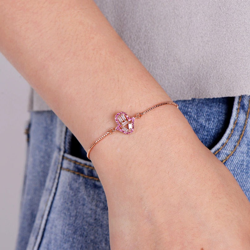 Small Gold Hot Pink Hamsa Hand Boho Cubic Zirconia Women's Adjustable Bracelet