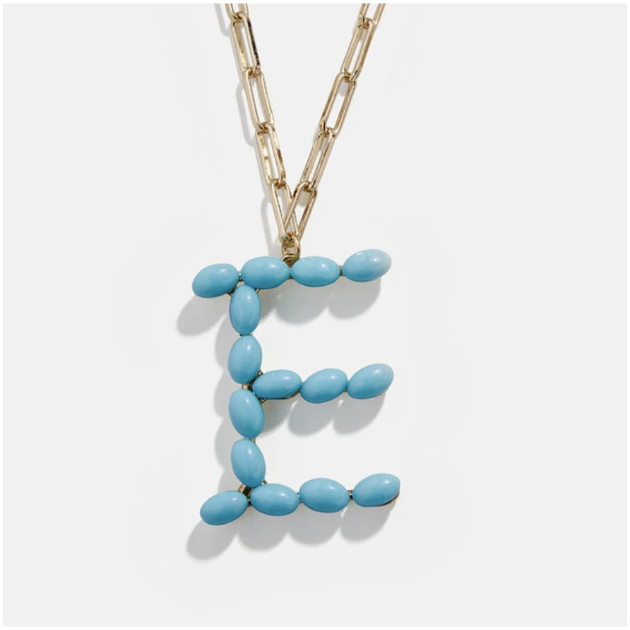 "Blue Bead Paper Clip Chain Initial Letter ""E"" Name Necklace"