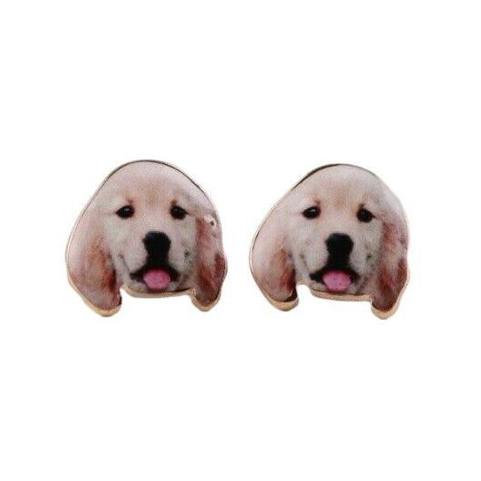 Beige Gold Labrador Lab Dog Puppy Animal Stud Earrings