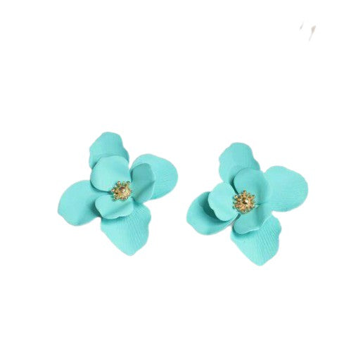 Turquoise Gold Large Flower Stud Fashion Earrings