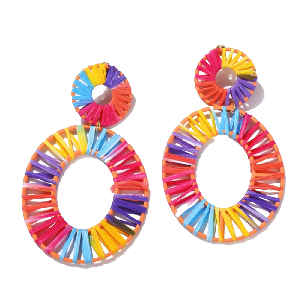 Rattan Oval Rainbow Multi-Color Drop Earrings