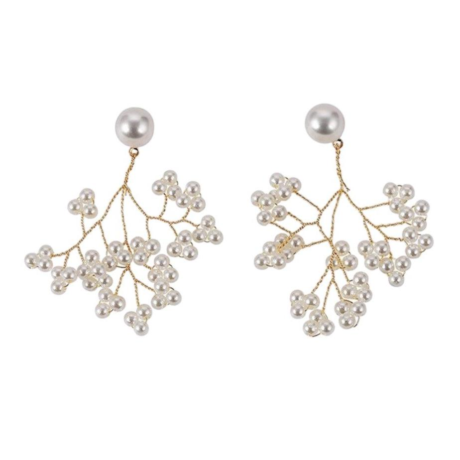 White Round Pearl Flower Tree Drop Earrings