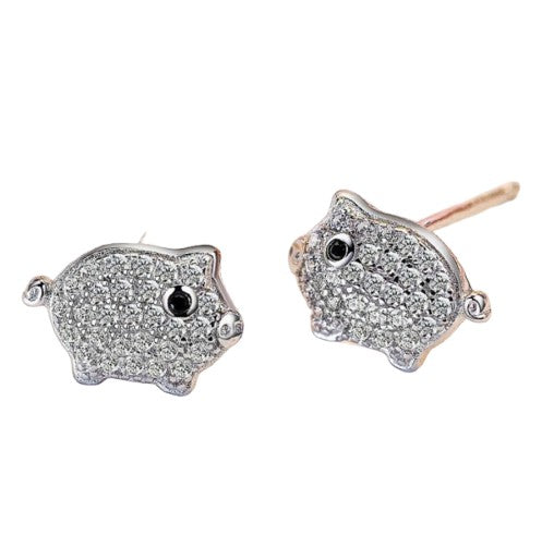 Sterling Silver Pave Cubic Zirconia Cute Baby Pig Stud Earrings
