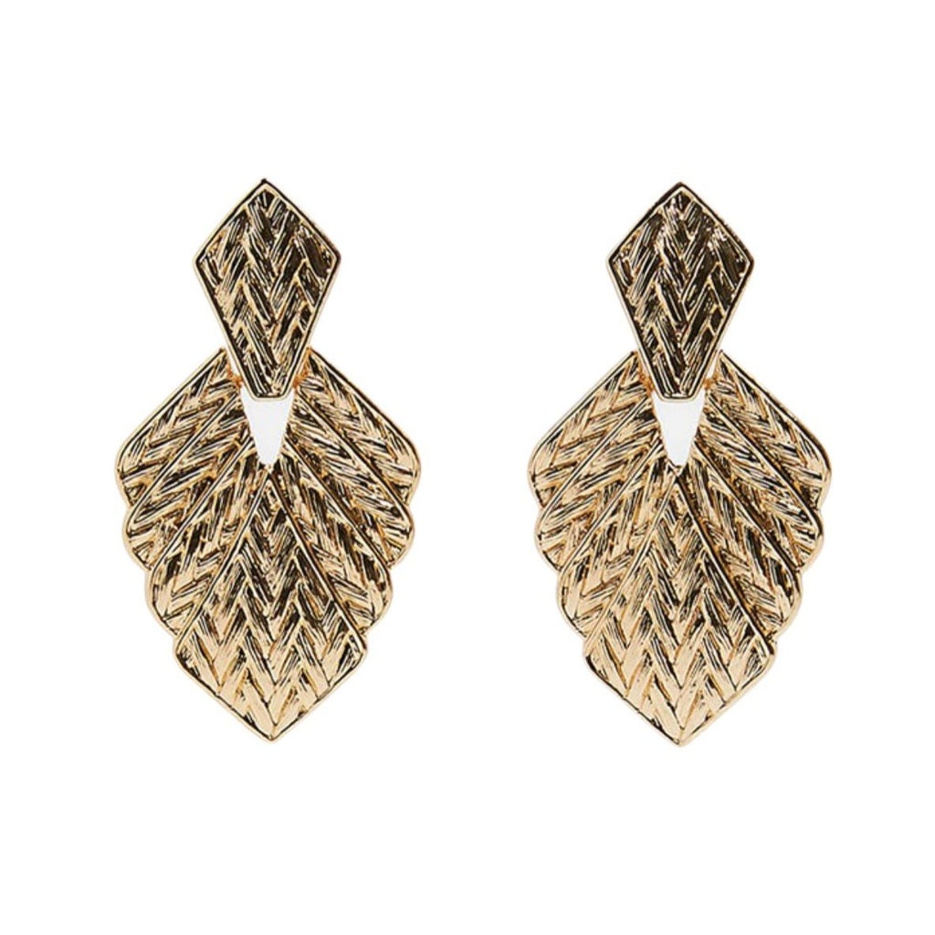 Triangle Vintage Drop Yellow Gold Elegant Earrings