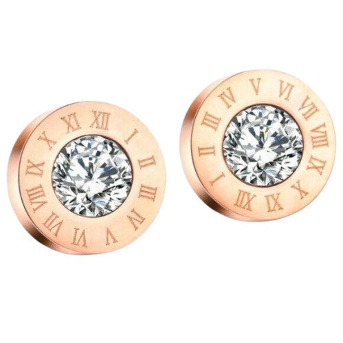 Rose Gold Cubic Zirconia Round Roman Numerals Stud Earrings