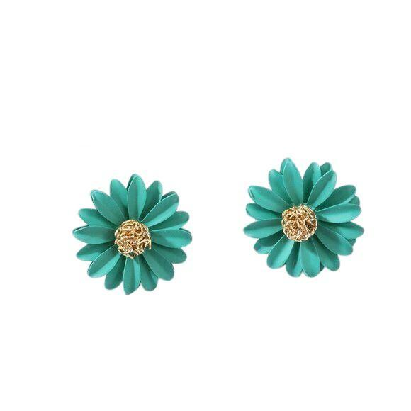 Green Gold Large Daisy Flower Stud Earrings