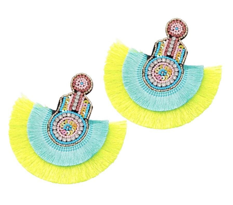 Pink Blue Neon Evil Eye Hamsa Tassel Crystal Sequin Dangle Boho Earrings